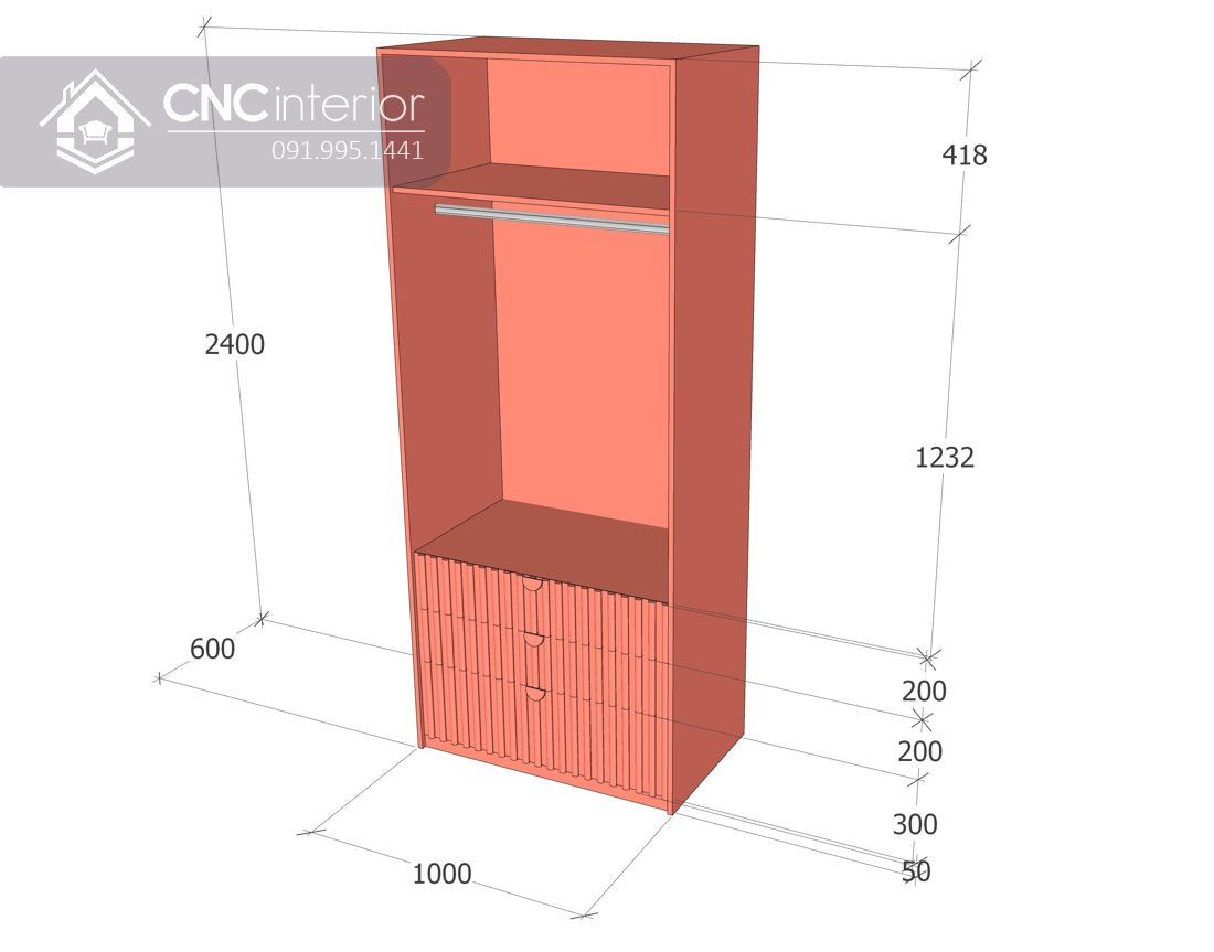 Tủ quần áo kết hợp bàn làm việc màu hồng CNC 25 3