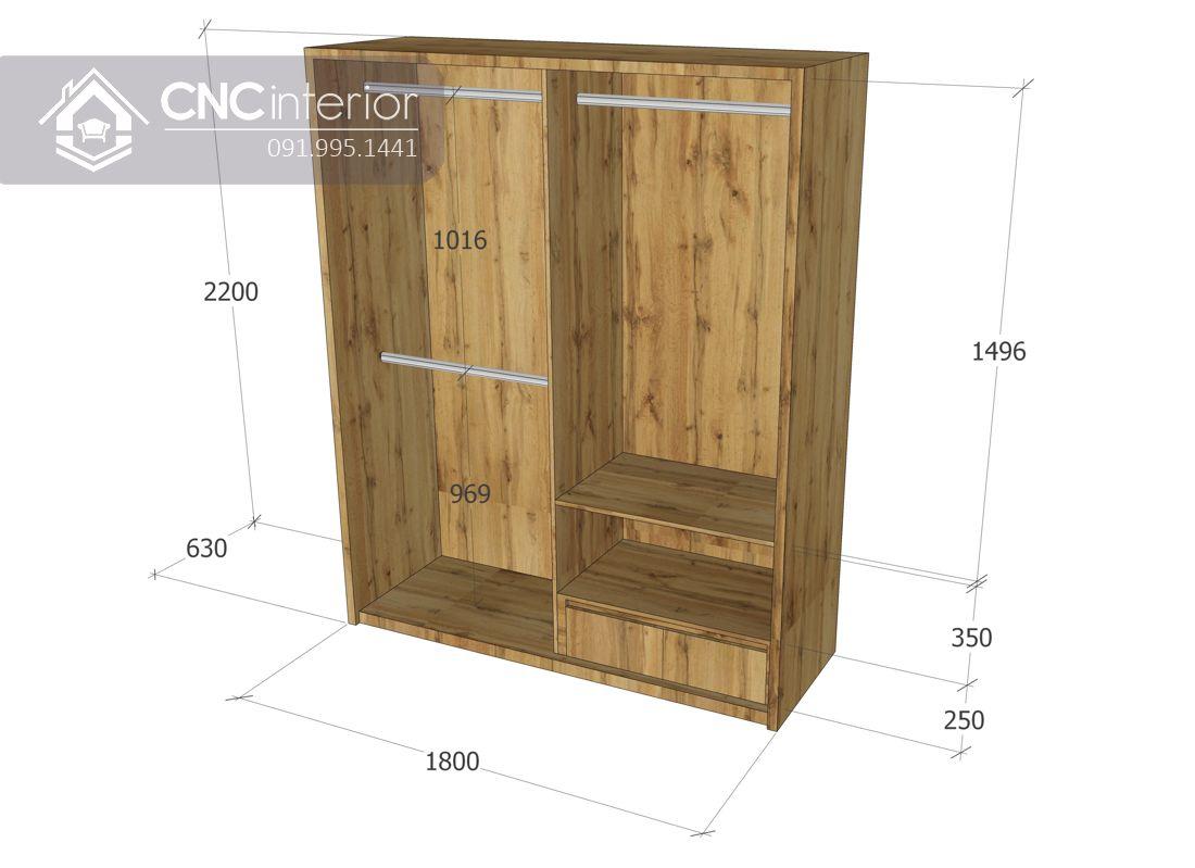 Tủ quần áo cửa lùa gỗ công nghiệp cao cấp CNC 31 3