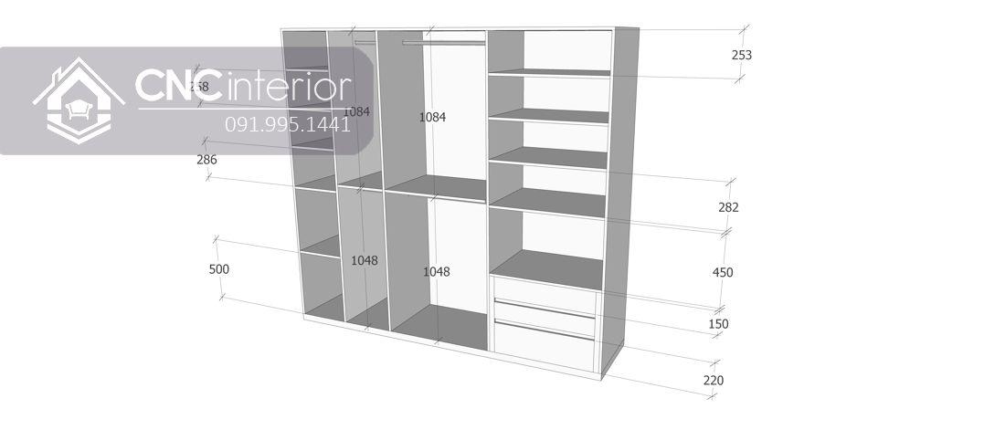 Tủ quần áo cánh kính hiện đại trang nhã CNC 17 5
