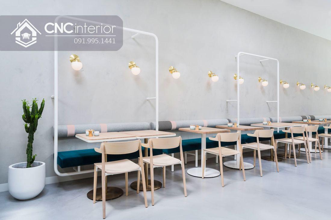 Bộ bàn ghế nhà hàng bằng gỗ thân thiện CNC 01