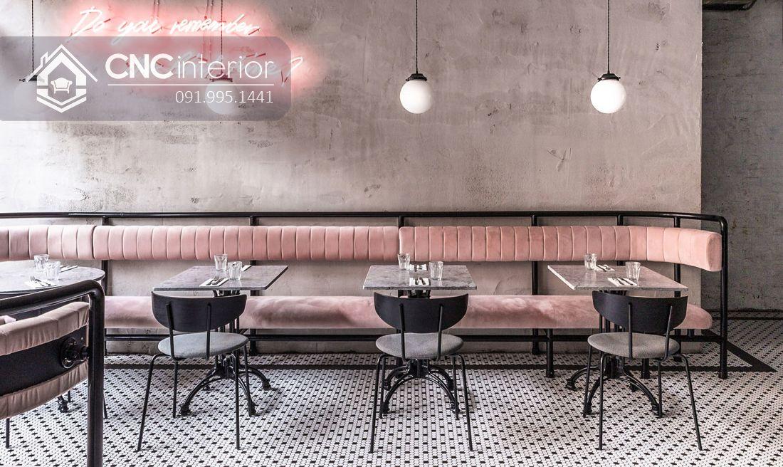 Bàn ghế nhà hàng chân sắt độc đáo CNC 18