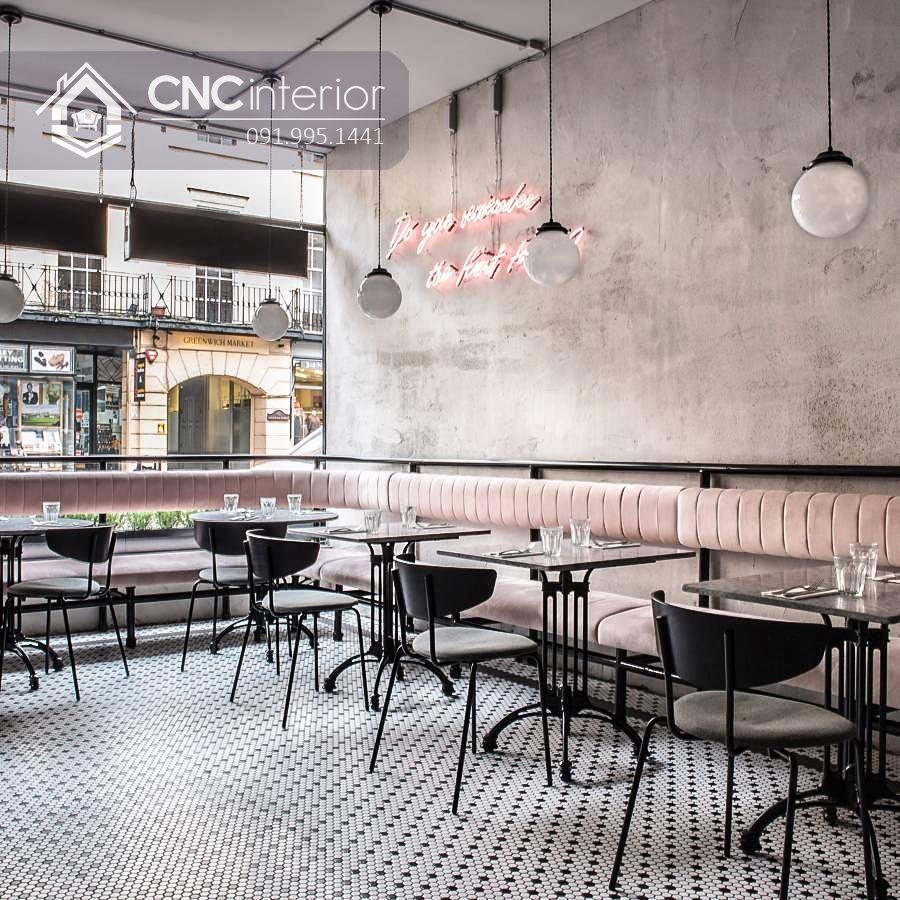 Bàn ghế nhà hàng chân sắt độc đáo CNC 18 2