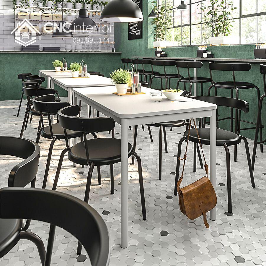Bộ bàn ghế nhà hàng đơn giản CNC 21