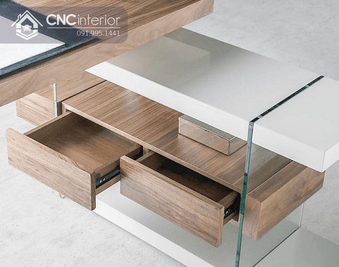 Bàn làm việc giám đốc bằng gỗ kết hợp với kính CNC 13 2