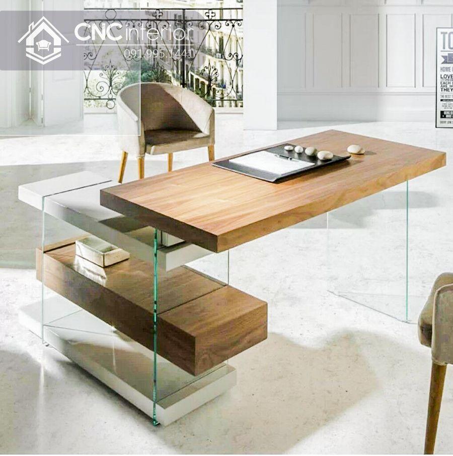 Bàn làm việc giám đốc bằng gỗ kết hợp với kính CNC 13 1