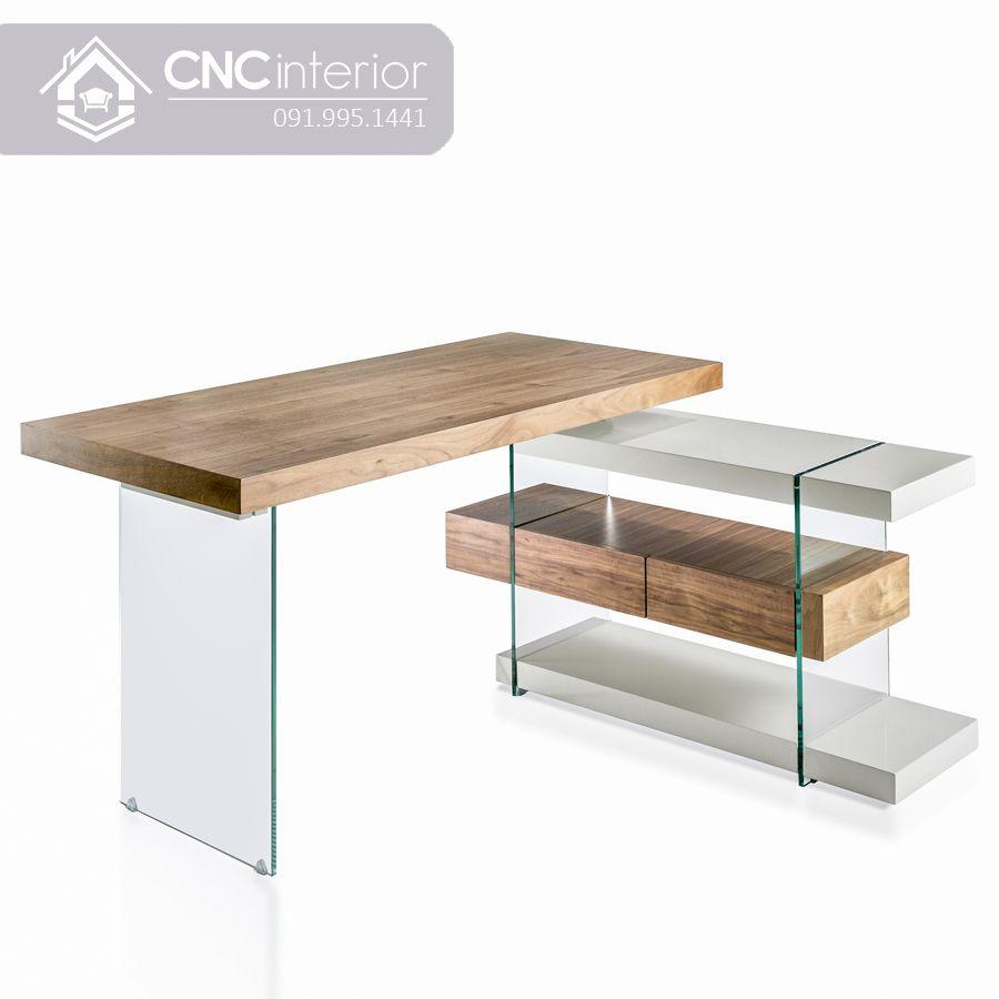Bàn làm việc giám đốc bằng gỗ kết hợp với kính CNC 13