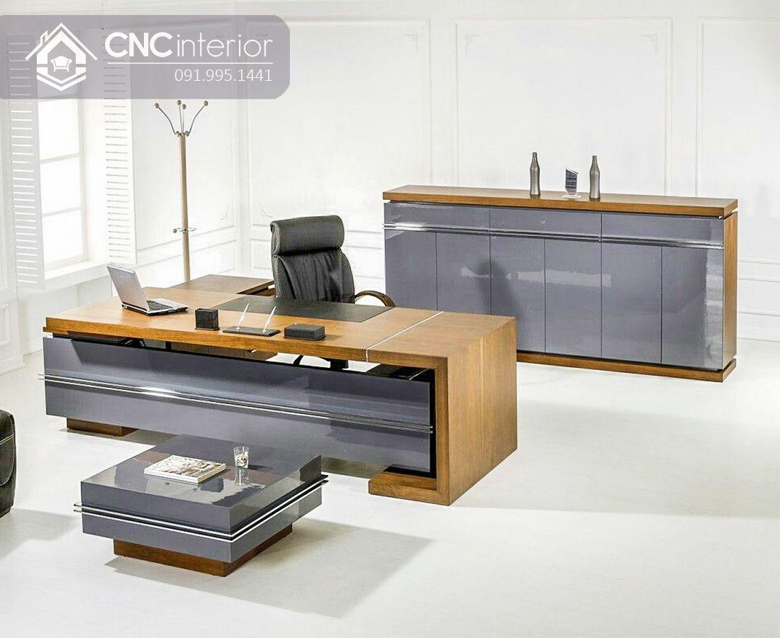 Bàn giám đốc gỗ công nghiệp chữ L CNC 14