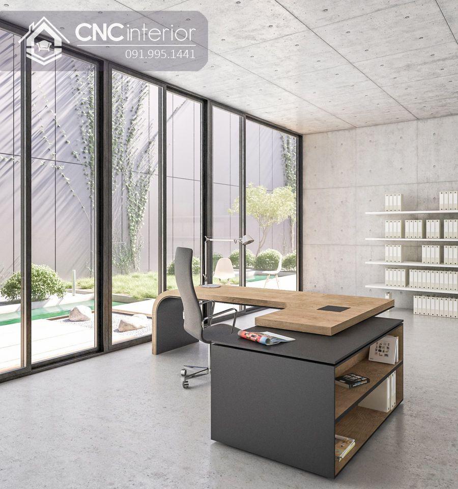 Bàn giám đốc gỗ công nghiệp MDF Veneer cao cấp CNC 32_1