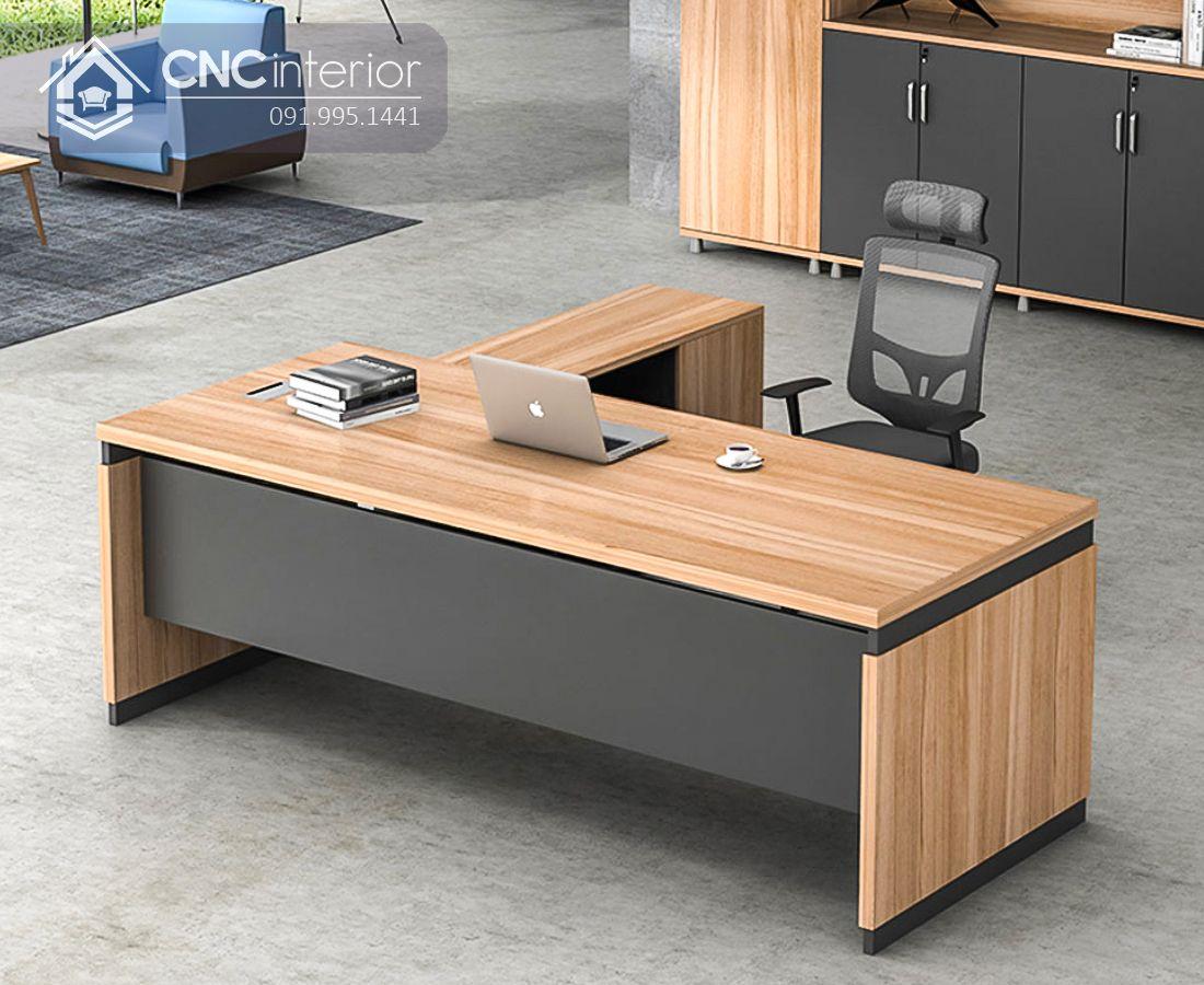 Bàn giám đốc chữ L gỗ công nghiệp đẹp CNC 37