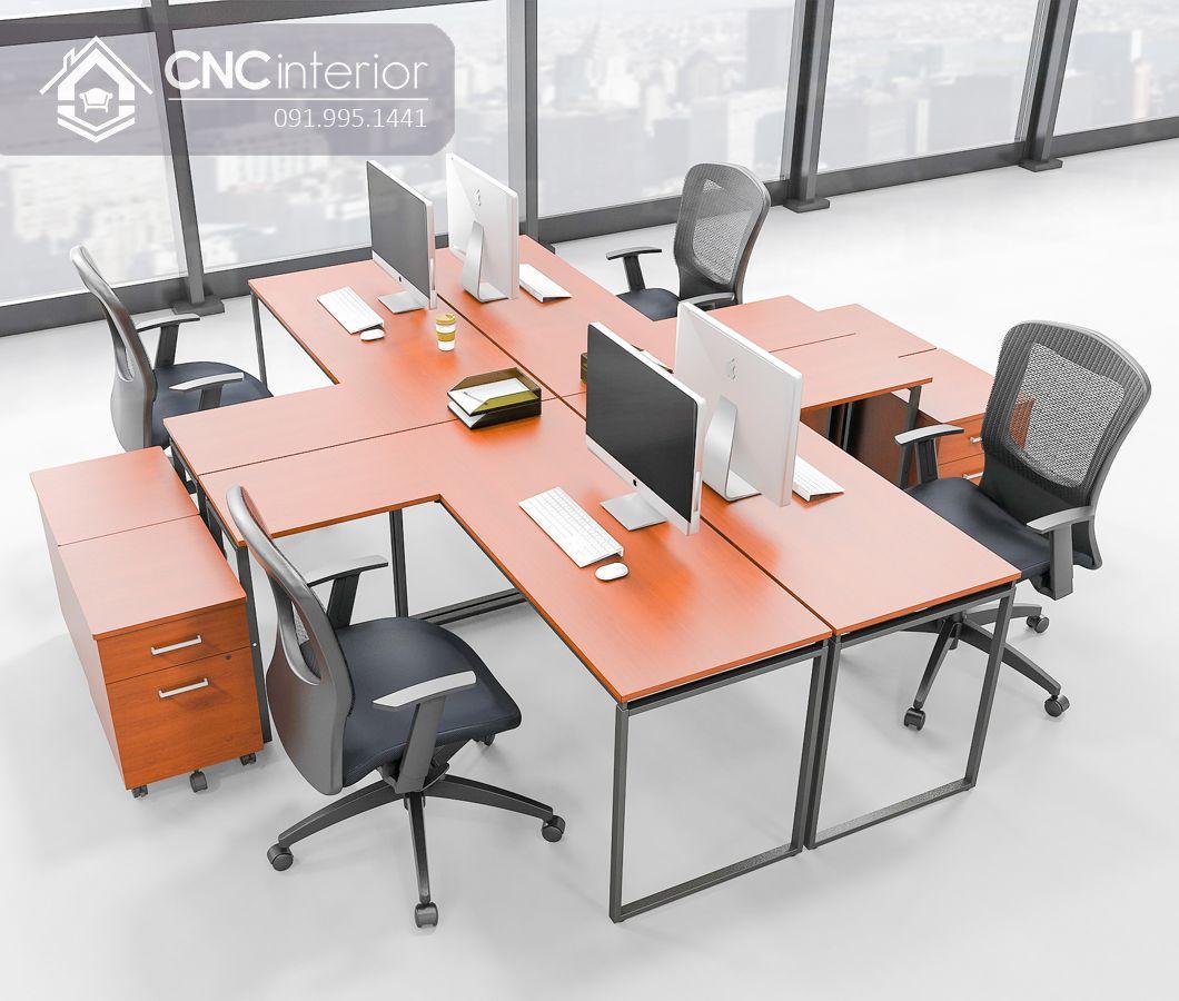 Bàn làm việc văn phòng chân sắt ấn tượng CNC 16