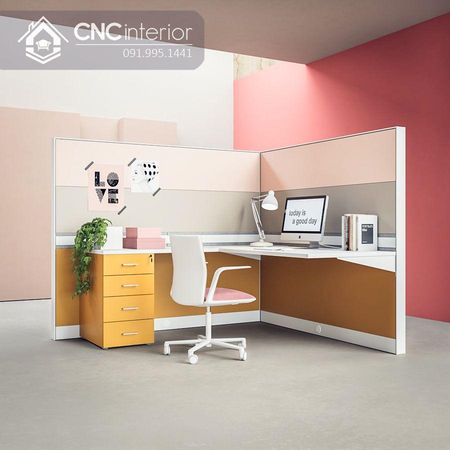 Bàn làm việc văn phòng đẹp có vách ngăn CNC 09 1