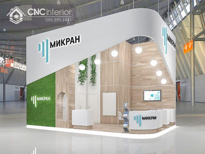 Booth quảng cáo hiện đại sử dụng gỗ công nghiệp.