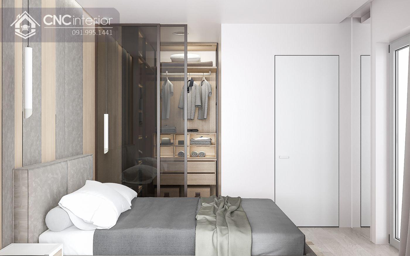thiết kế màu trung tính nhẹ nhàng hợp với phòng ngủ nhỏ 16