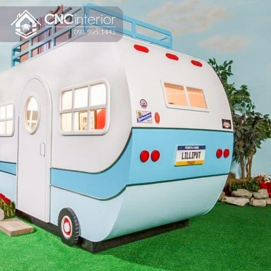Giường tầng cho bé hình ô tô đẹp CNC 02