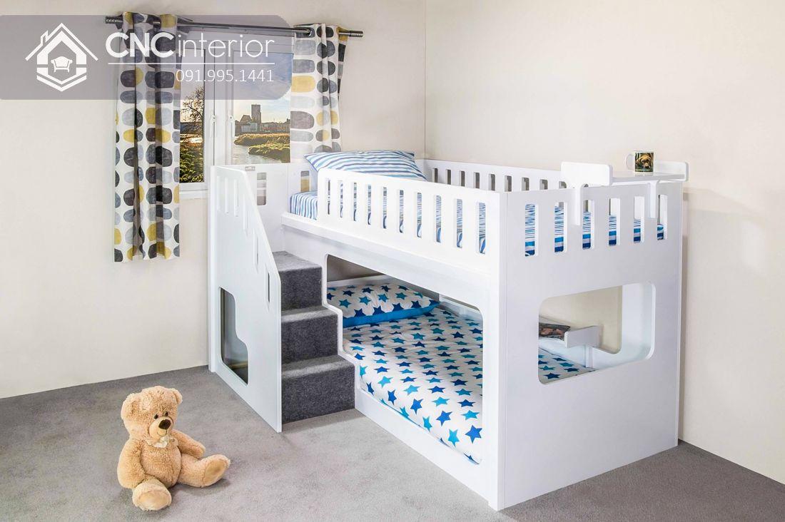 Giường tầng dành cho trẻ em màu trắng tinh tế CNC 03