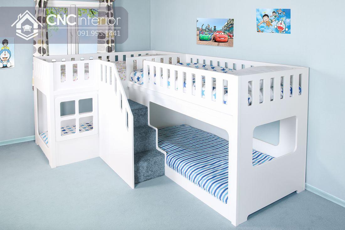 Giường tầng dành cho trẻ em màu trắng tinh tế CNC 03 1