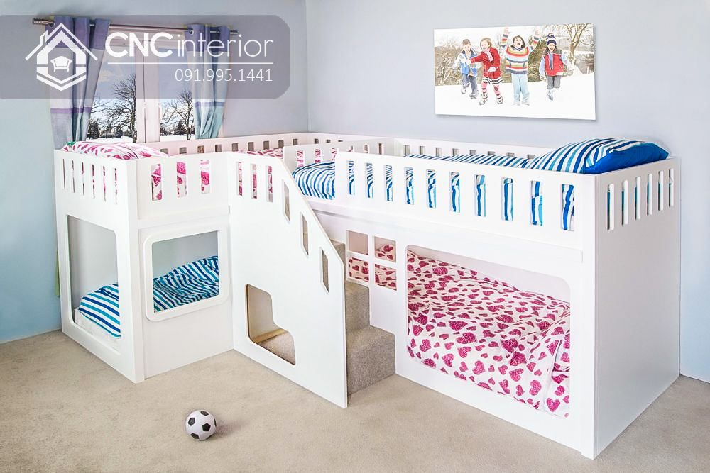 Giường tầng dành cho trẻ em màu trắng tinh tế CNC 03 2