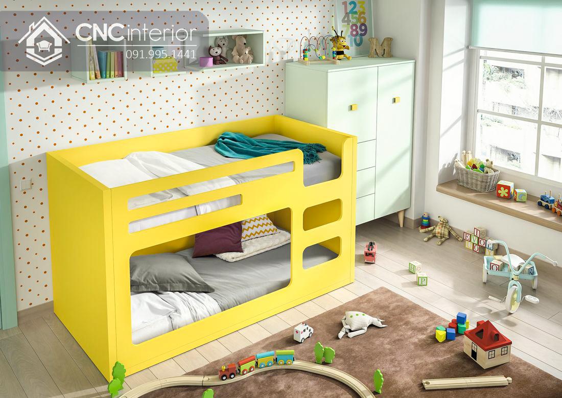 Giường tầng trẻ em màu vàng sinh động CNC 05