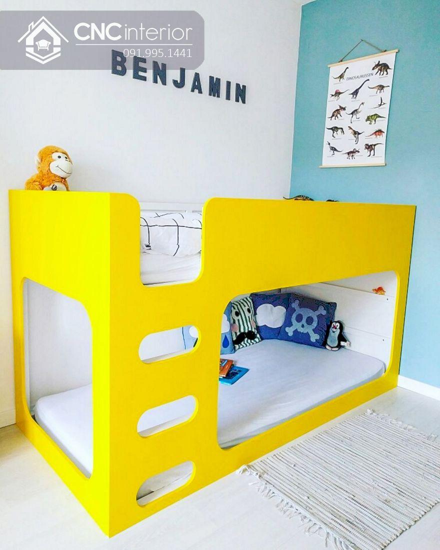 Giường tầng trẻ em màu vàng sinh động CNC 05 1