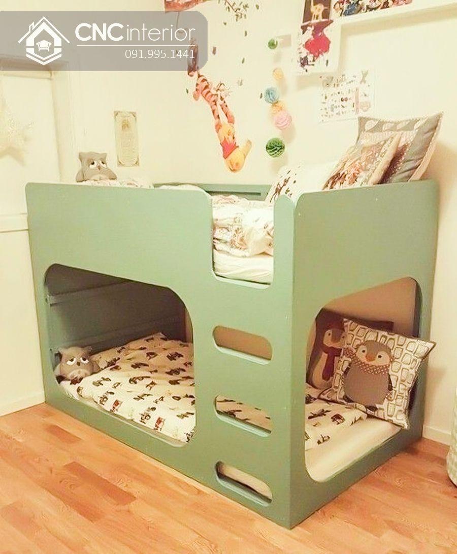 Giường tầng trẻ em màu vàng sinh động CNC 05 2