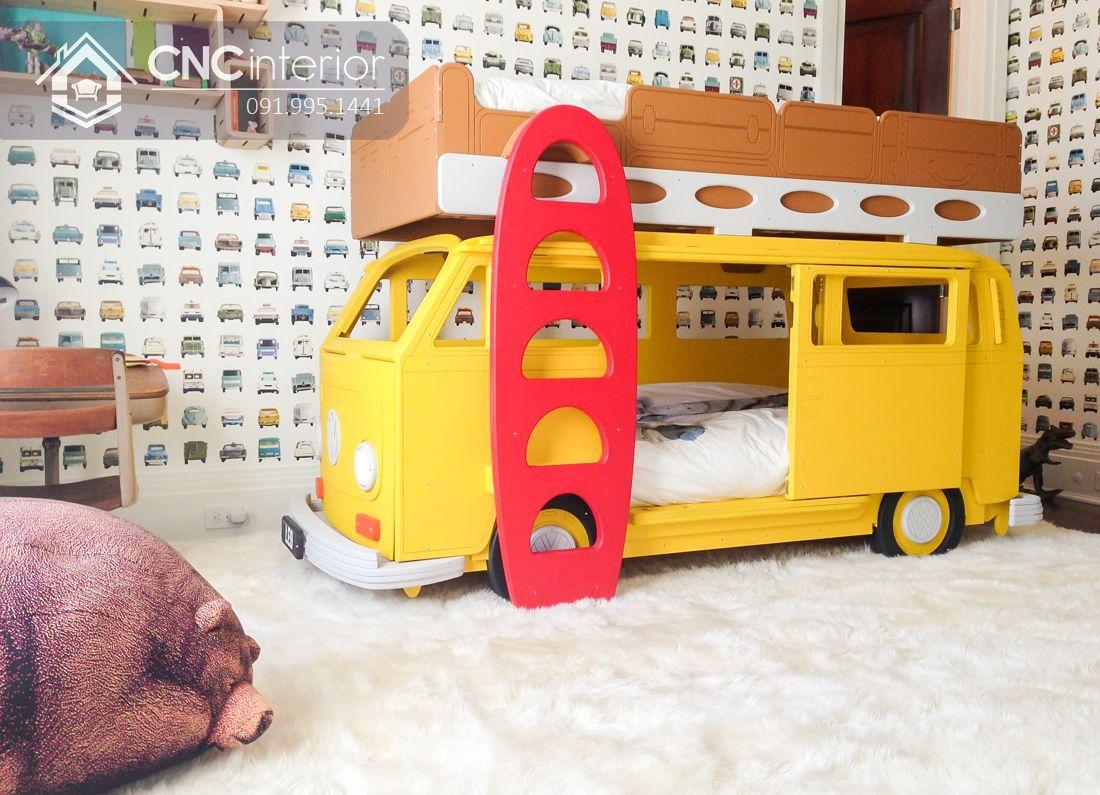Giường 2 tầng cho bé hình ô tô CNC 07 1