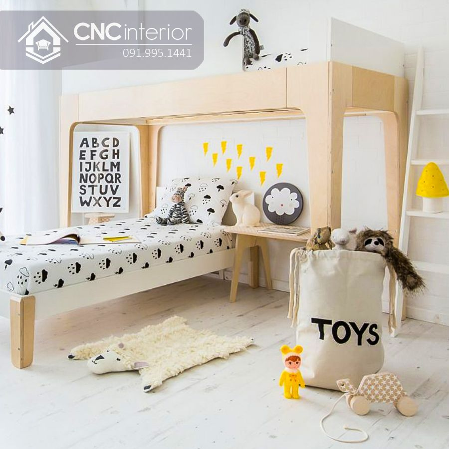Giường 2 tầng trẻ em kiểu so le CNC 09