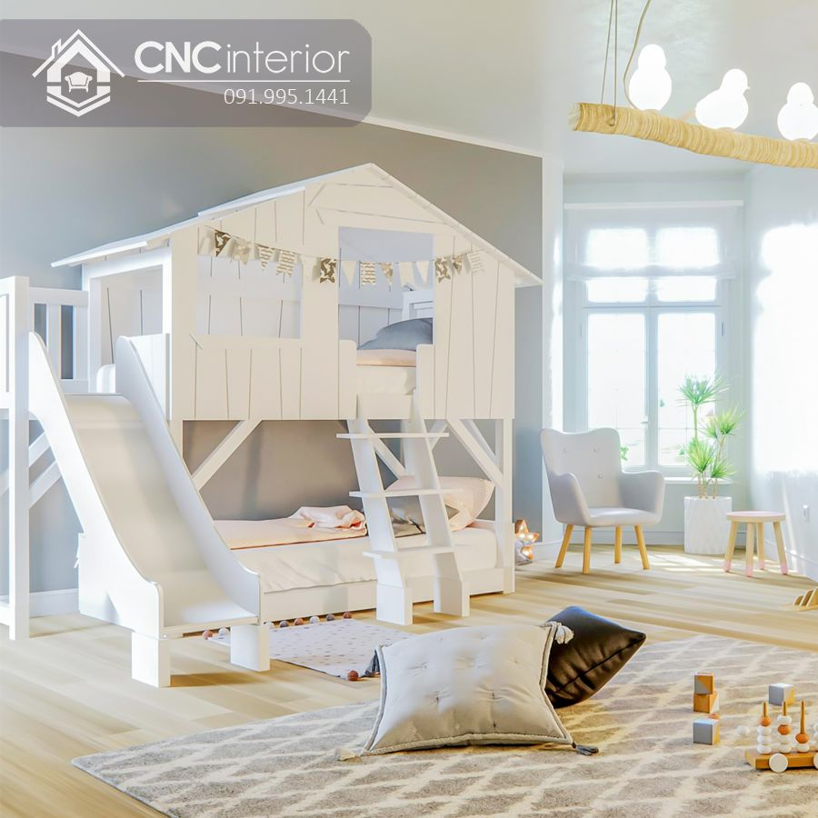 Giường tầng có cầu trượt đẹp cho bé CNC 10 1