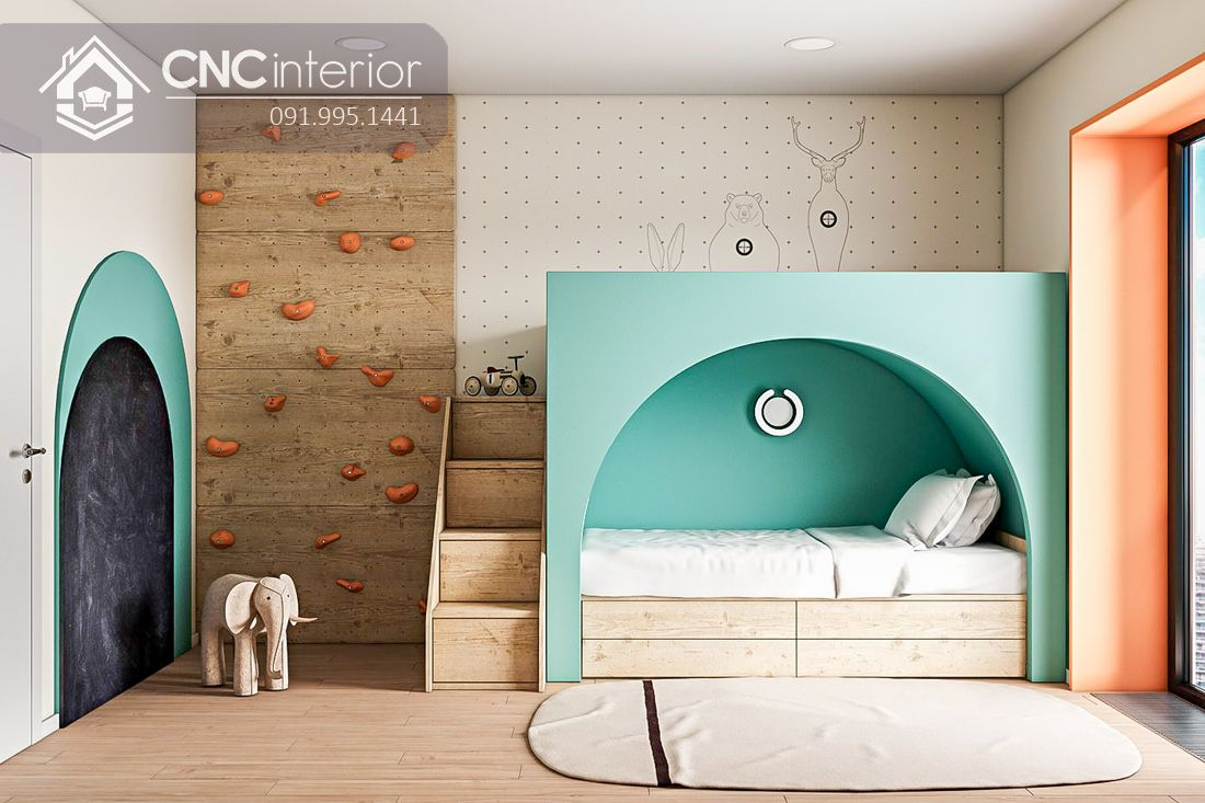 Giường 2 tầng trẻ em đẹp hiện đại CNC 18