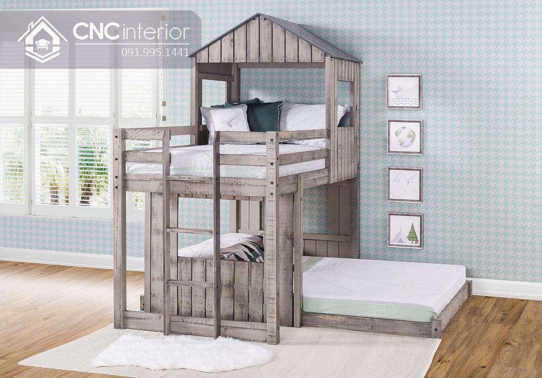 Giường tầng trẻ em bằng gỗ tự nhiên CNC 19