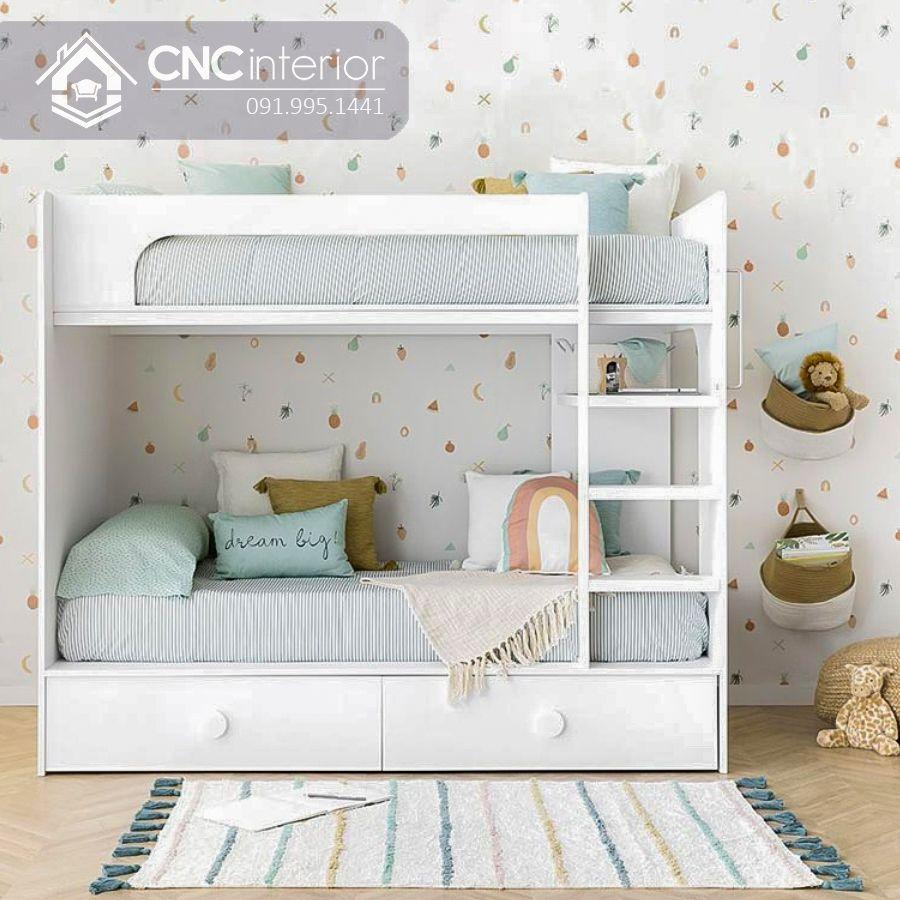 Giường 2 tầng cho bé màu trắng hiện đại CNC 22