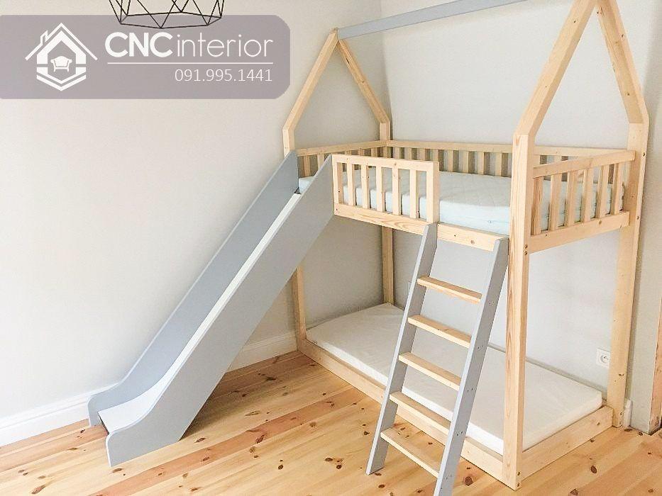 Giường tầng trẻ em gỗ tự nhiên cao cấp CNC 25
