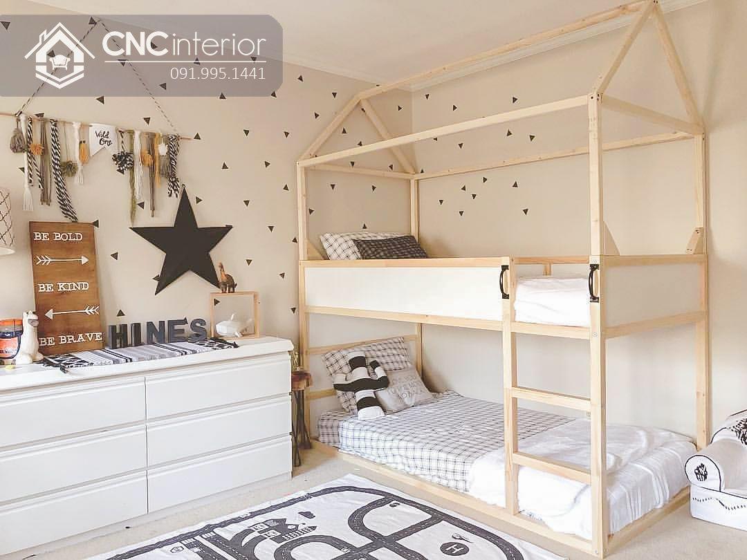 Giường tầng trẻ em gỗ tự nhiên cao cấp CNC 25 1