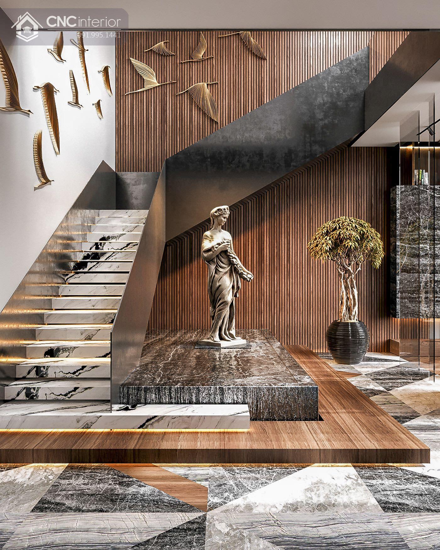 living room tận dụng gầm cầu thang để bày trí 16