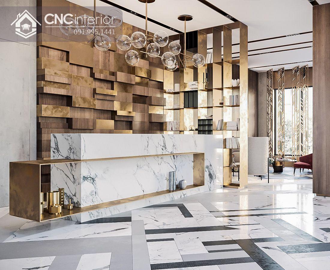 Quầy lễ tân khách sạn ốp đá sang trọng CNC 13
