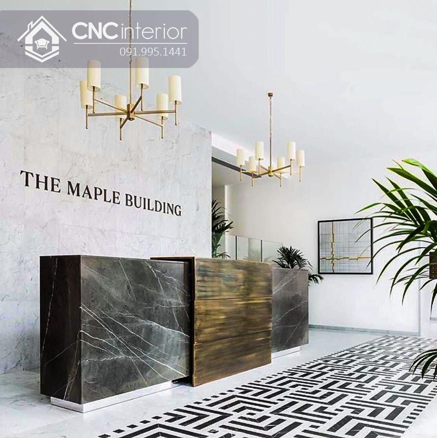 Quầy lễ tân khách sạn hiện đại sang trọng CNC 32
