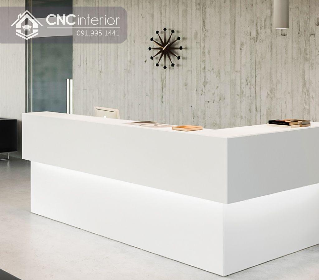 Quầy lễ tân chữ L màu trắng tinh tế CNC 35