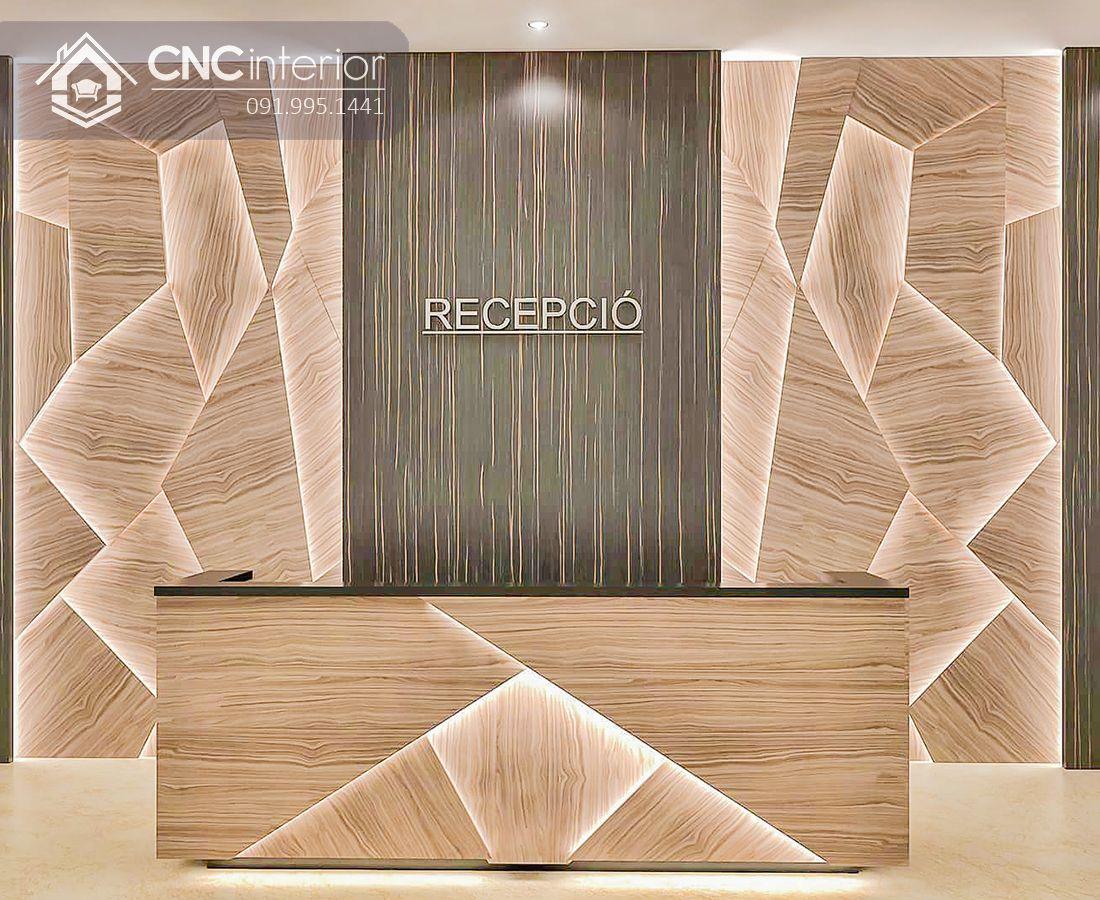 Quầy lễ tân chữ I gỗ công nghiệp CNC 07