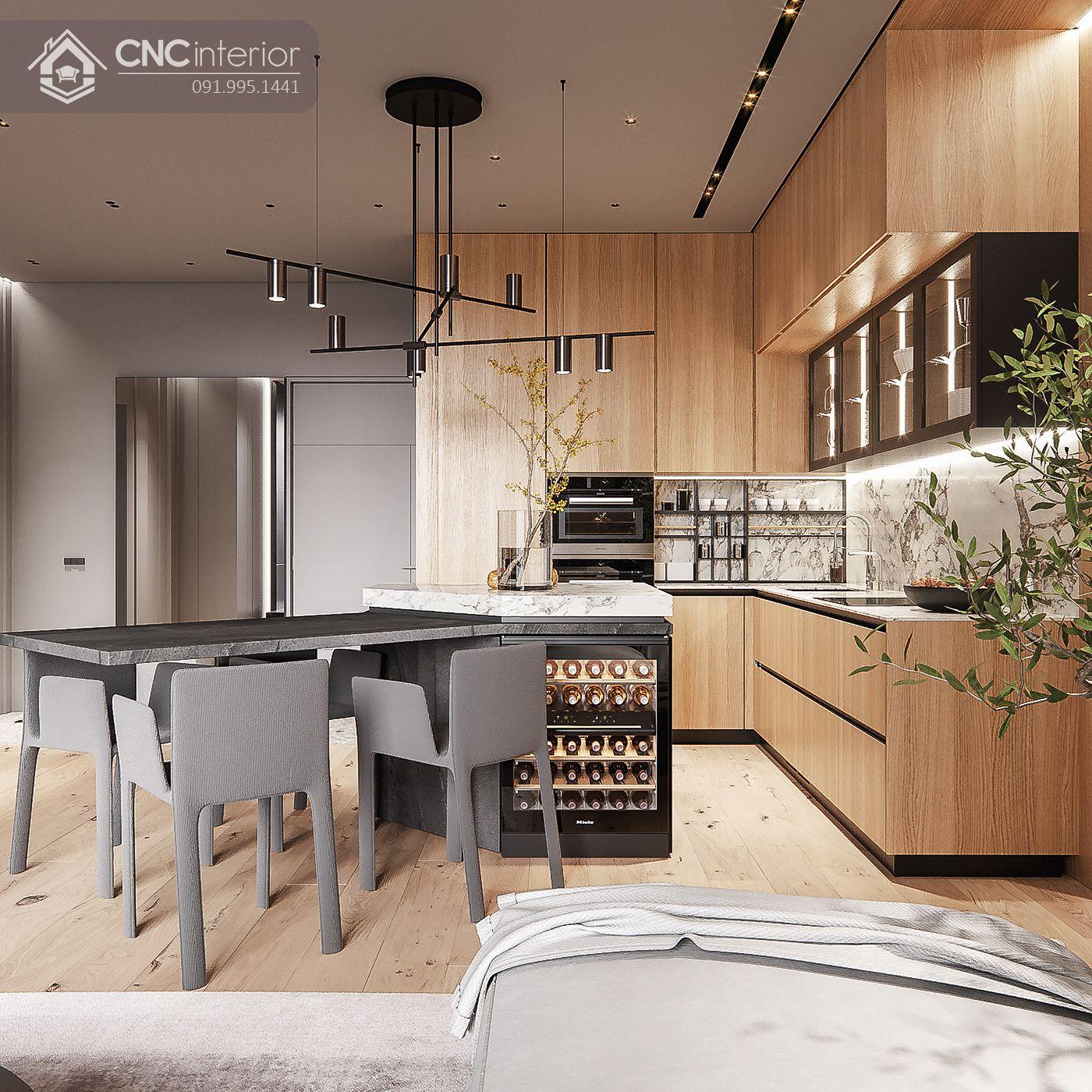 Khu ăn uống gồm tủ và đảo bếp hiện đại 17