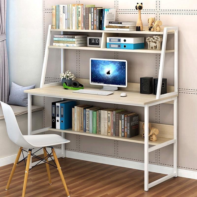 Mẫu bàn làm việc kèm giá sách vẫn là ưu tiên số 1 cho những không gian không mấy rộng rãi