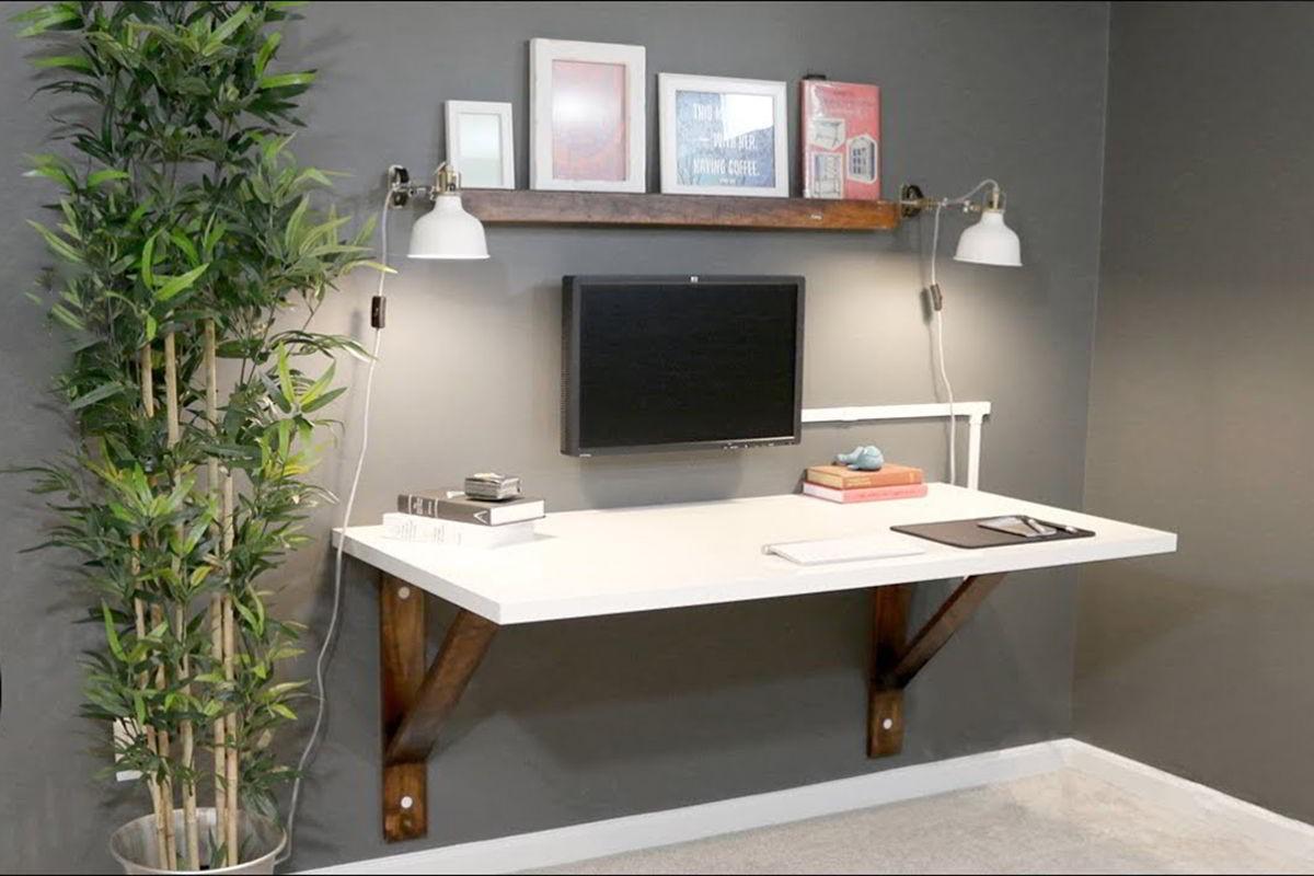 Thiết kế bàn làm việc treo tường cũng là gợi ý khá hay ho đến mọi người tham khảo