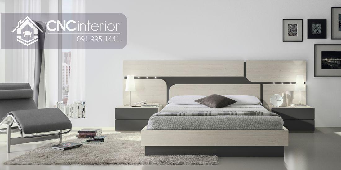 Giường ngủ đẹp bằng gỗ công nghiệp bền chắc CNC 60