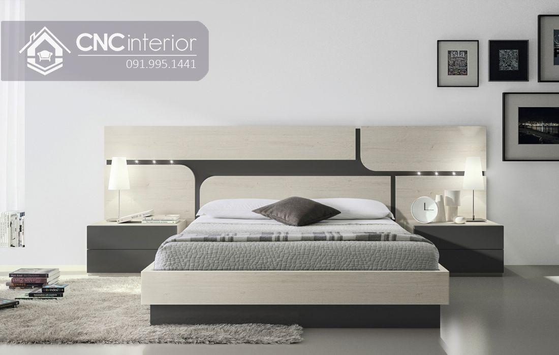 Giường ngủ đẹp bằng gỗ công nghiệp bền chắc CNC 60 1