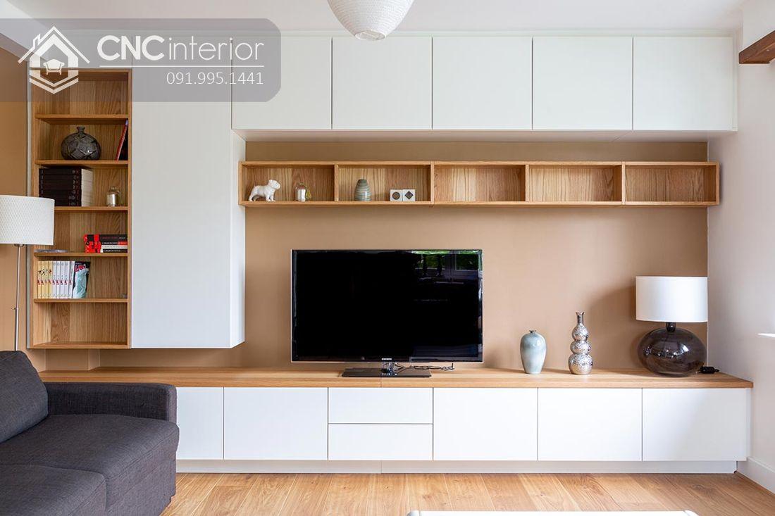 Mẫu tủ tường bằng gỗ phòng khách đẹp 4