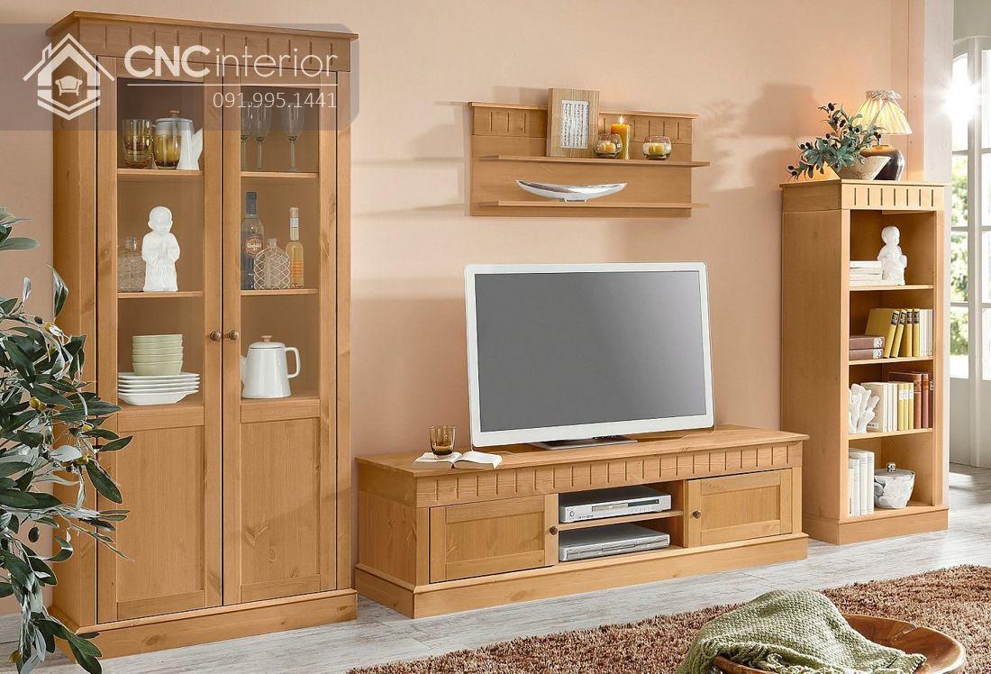 Mẫu tủ tường bằng gỗ phòng khách đẹp 1