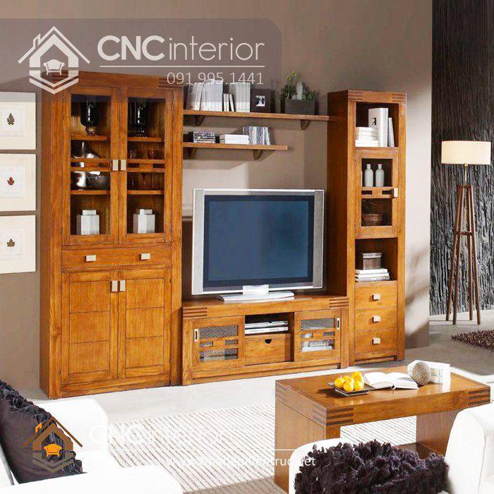 Mẫu tủ tường bằng gỗ phòng khách đẹp 2