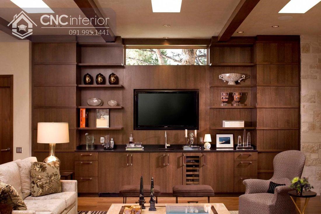 Mẫu tủ tường bằng gỗ phòng khách đẹp 5