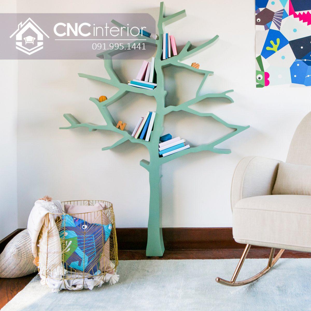 Giá sách hình cây được thiết kế khéo léo và đẹp mắt