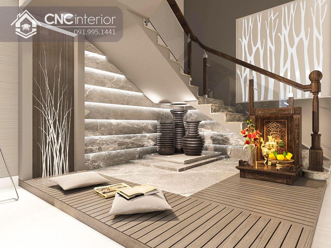 Trang trí cầu thang phòng khách thêm đèn lãng mạn