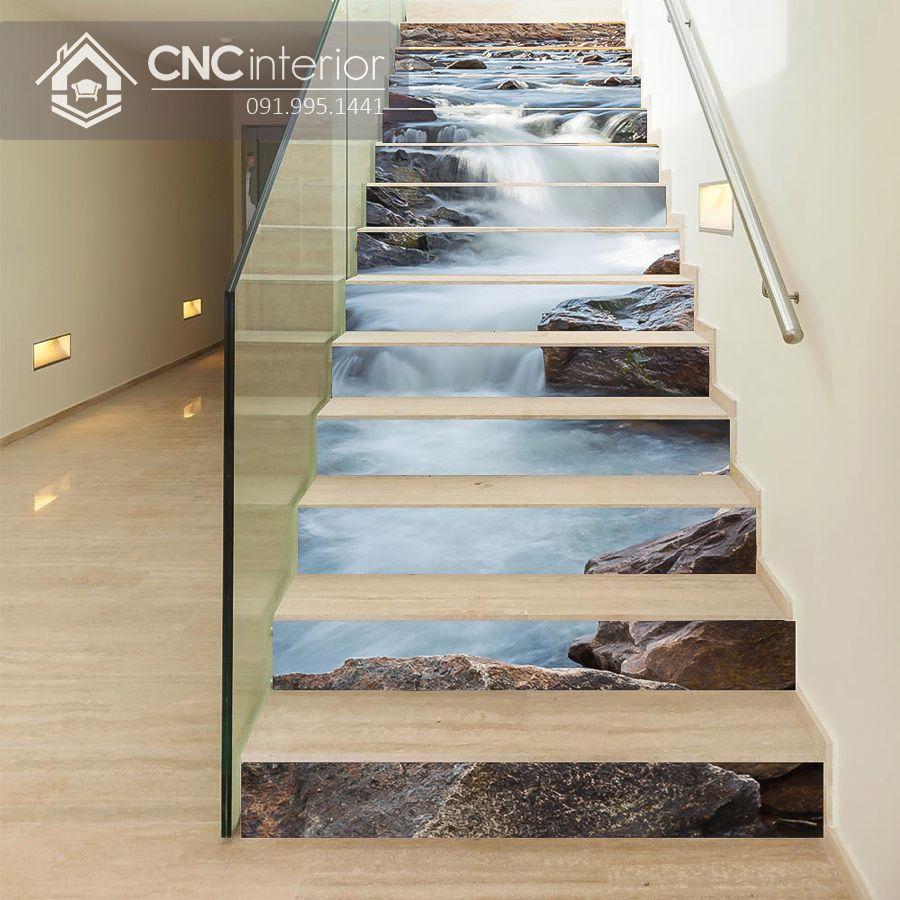 Ý tưởng trang trí cầu thang phòng khách hình phong cảnh