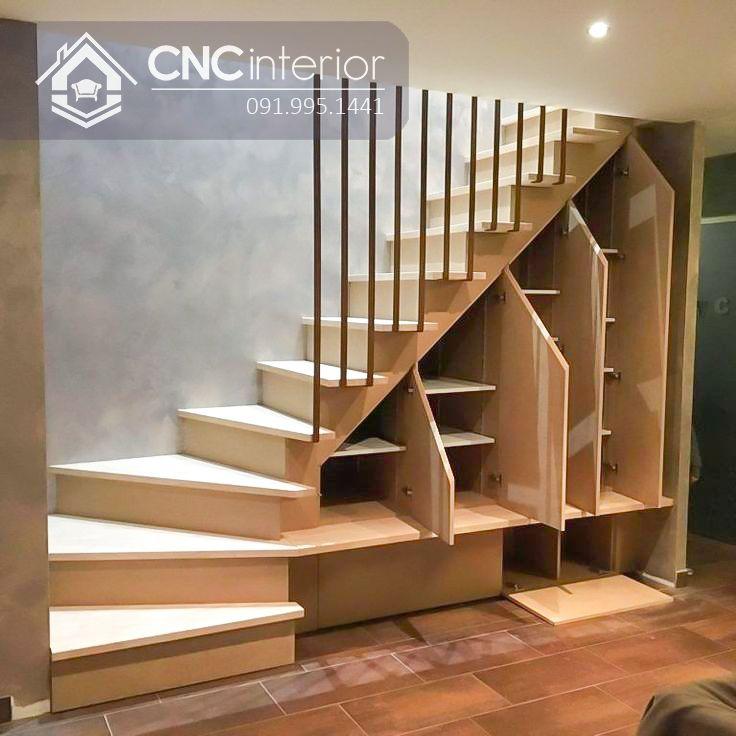 Thiết kế cầu thang phòng khách thuận tiện cho việc trang trí